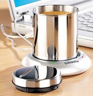 USB-Tassenwärmer mit Edelstahl-Tasse/Becher von Pearl