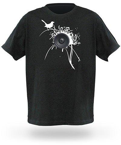 Raj Koothrappalis T-Shirt mit Lautsprecher und Fernbedienung aus Big Bang Theory