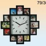 Wanduhr Black Magic mit Bilderrahmen für 12 Bilder