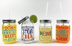 Sticky Jam Trinkgläser mit witzigen Sprüchen